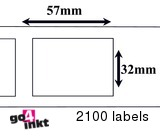Zebra compatible Labels 57 x 32 mm Thermal Labels Verwijderbaar (10 st)