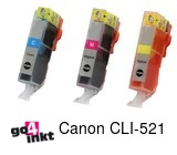 Compatible inkt cartridge CLI521 (5xcmy) serie inkt comp.(15 st)