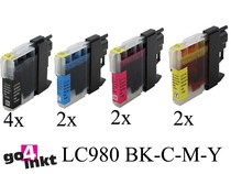 Brother LC-980, LC980 inktpatronen compatible (10 st.)