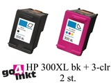 HP 300XL bk en 3-clr inktpatroon remanufactured (2st)