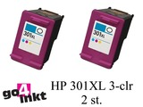HP 301XL 3-clr Twin Pack inktpatroon remanufactured (2 st)