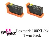 Lexmark 100XL bk Twin Pack inktpatroon compatible (2st)